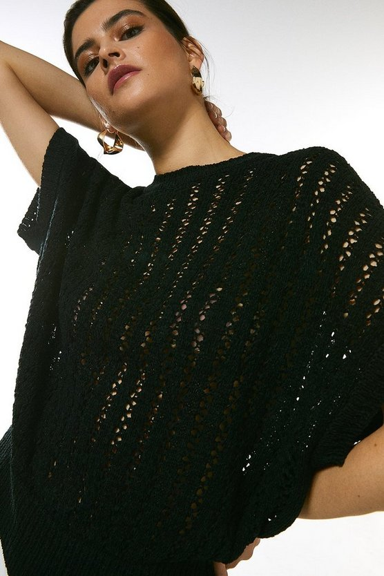 Black Cocoon Tape Yarn Knit Top