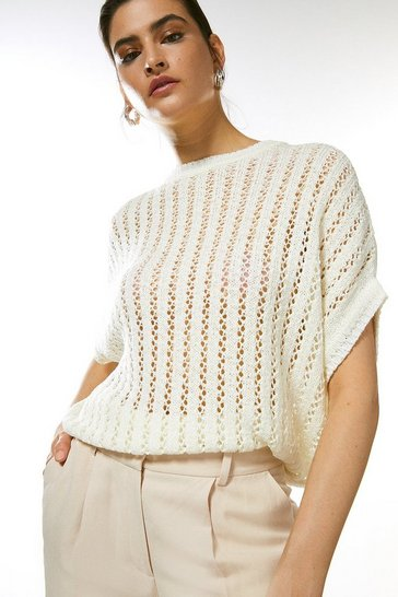 Ivory Cocoon Tape Yarn Knit Top