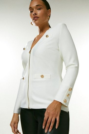 Cream Curve Military Bandage Zip Knitted Jacket
