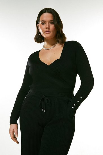 Black Curve Wrap Detail Rib Knitted Cardigan