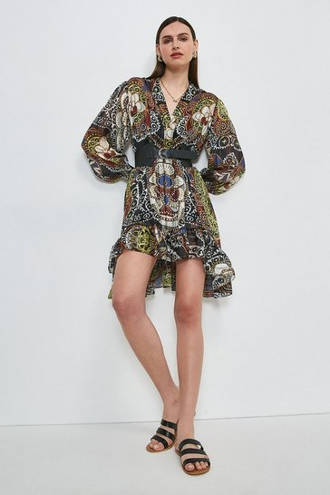 Black Batik Drama Sleeve Belted Dress