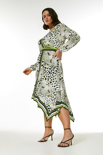 Curve Leopard Boarder Print Wrap Dress