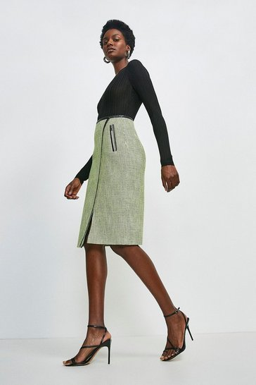 Lime Neon Tweed Pencil Skirt
