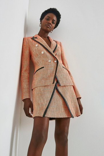Orange Neon Tweed Military Jacket