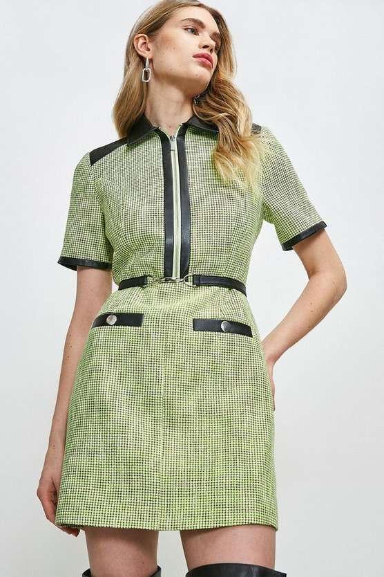 Lime Neon Tweed Collared Dress