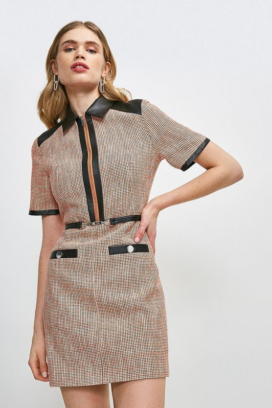 Orange Neon Tweed Collared Dress
