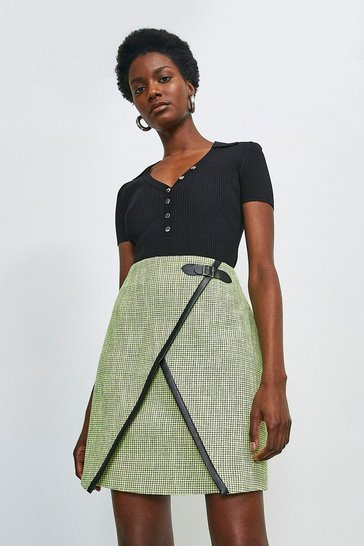 Lime Neon Tweed A Line Skirt