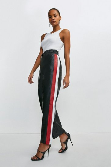 Black Leather Side Stripe Jogger