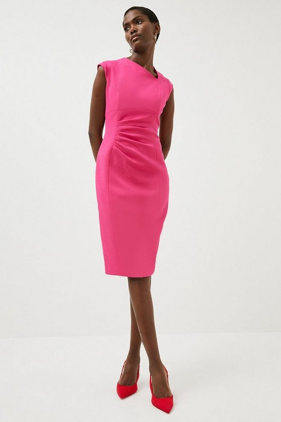 Magenta Structured Crepe Asymmetric Tuck Detail Dress