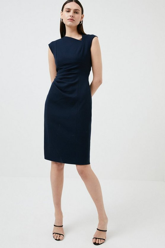 Navy Structured Crepe Asymmetric Tuck Detail Dress