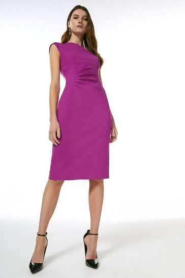 Purple Structured Crepe Asymmetric Tuck Detail Dress