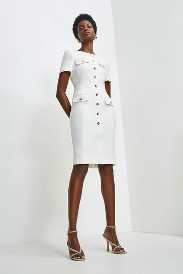 Ivory Tailored Short Sleeve Utility Pencil Dress
