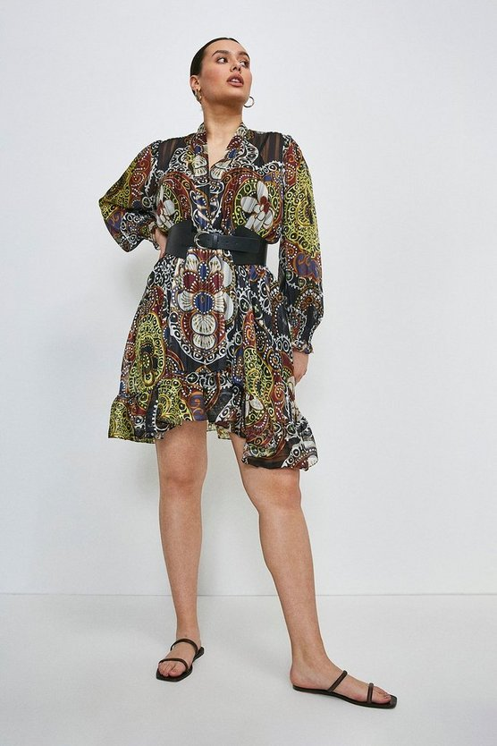 Black Curve Batik Drama Sleeve Belted Dress