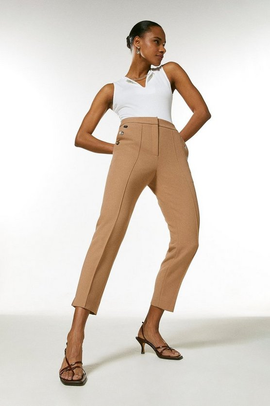 Camel Compact Stretch Eyelet Pocket Slim Trousers