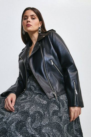Black Curve Leather Ultimate Biker Jacket