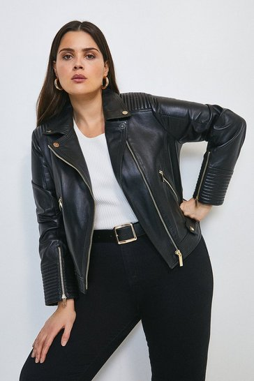 Black Curve Leather Stitch Detail Moto Biker Jacket