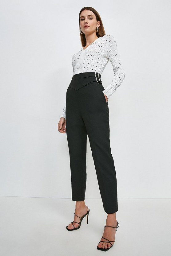 Black Compact Stretch High Waist Buckle Trousers