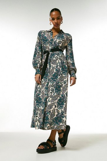 Blue Paisley Print Belted Shirt Dress