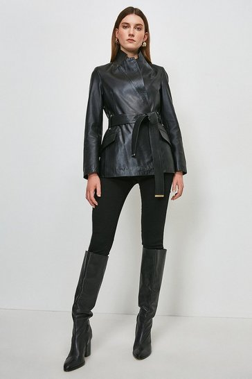 Black Leather Investment Notch Neck Short Coat