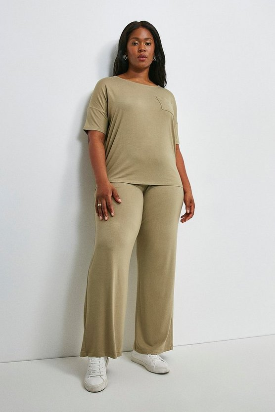Khaki Curve Lounge Viscose Jersey Wide Leg Trousers