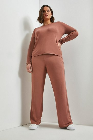 Mink Curve Lounge Viscose Jersey Wide Leg Trousers