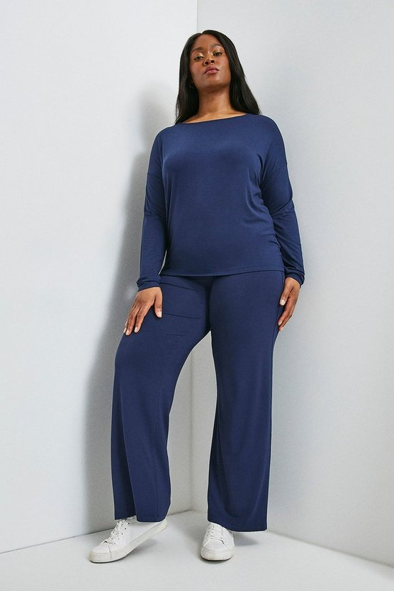 Navy Curve Lounge Viscose Jersey Wide Leg Trousers