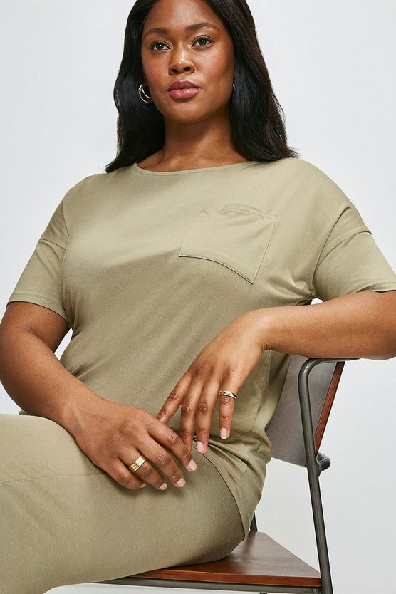 Khaki Curve Lounge Viscose Jersey Short Sleeve Top