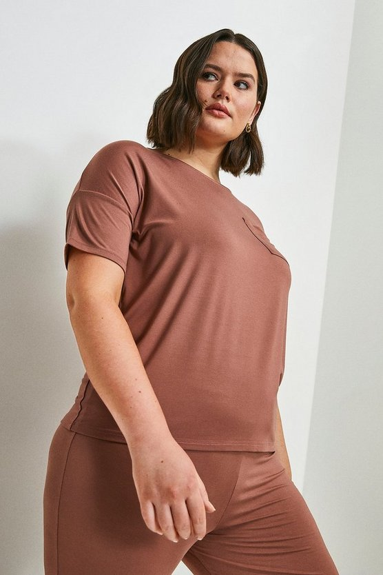 Mink Curve Lounge Viscose Jersey Short Sleeve Top