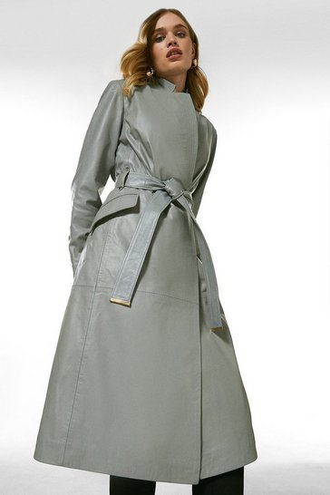 Grey Leather Investment Notch Neck Coat.