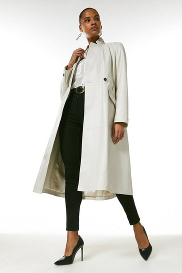 Ivory Leather Investment Notch Neck Coat.