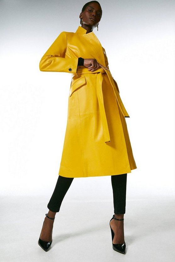 Mustard Leather Investment Notch Neck Coat.