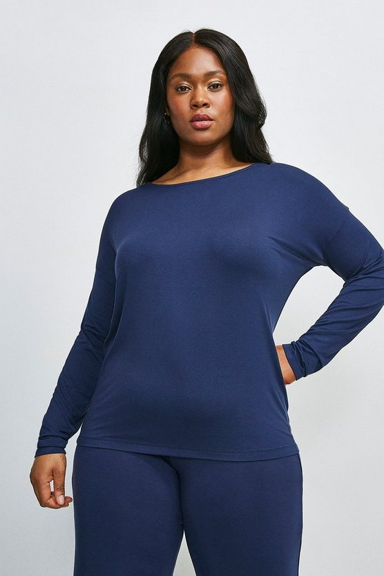Navy Curve Lounge Viscose Jersey Batwing Top