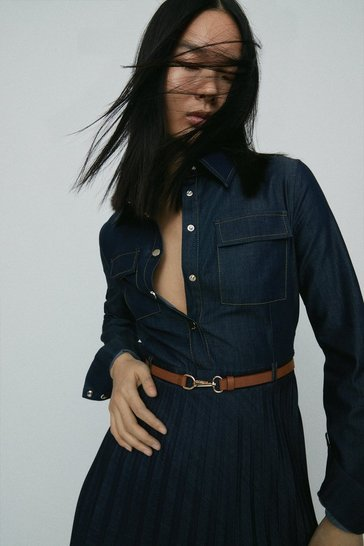 Denim-blue Tailored Denim Pleated Shirt Dress