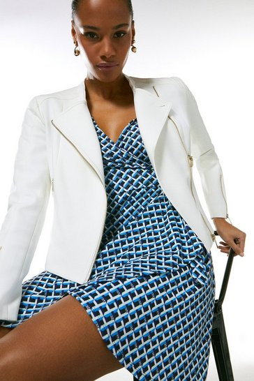 Ivory Compact Stretch Biker Jacket