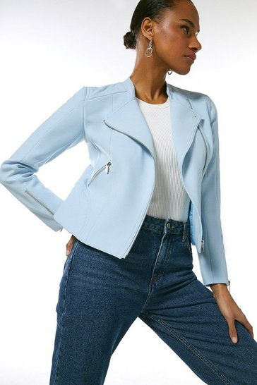 Pale blue Compact Stretch Biker Jacket
