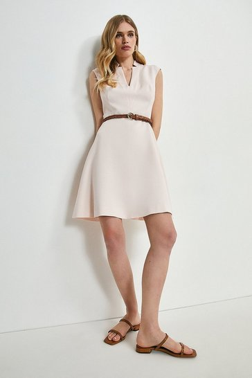 Blush Relaxed Tailored Belted A Line Dress