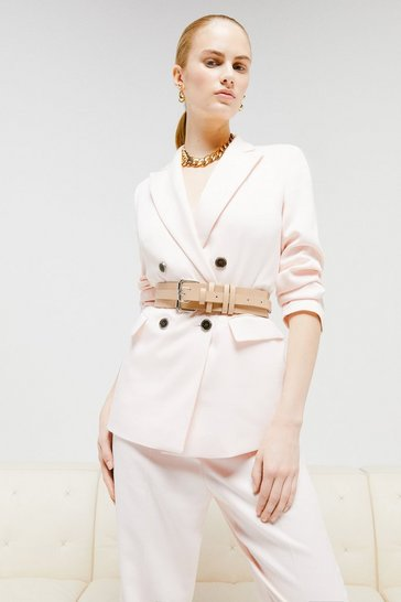 Blush Relaxed Tailored Double Breasted Jacket