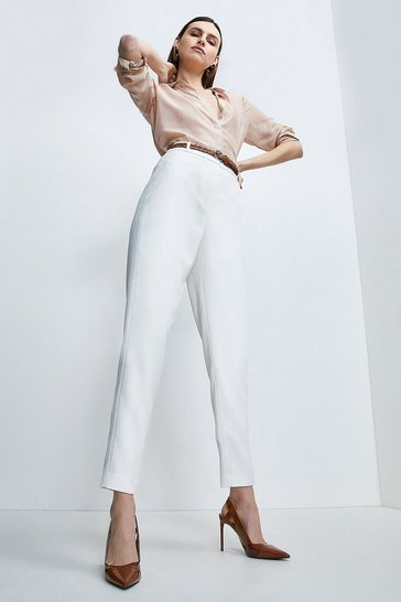 Ivory Relaxed Tailored Belted Slim Leg Trouser