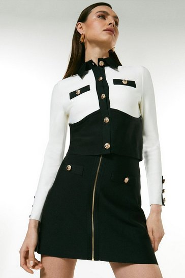Blackwhite Colour Block Military Bandage Jacket