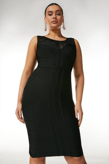 Black Curve Bandage Bodice Knit Dress
