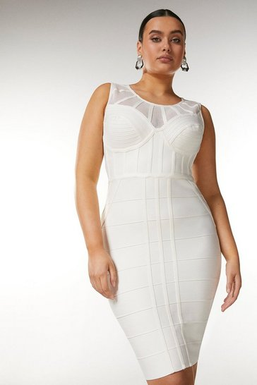 Ivory Curve Bandage Bodice Knit Dress