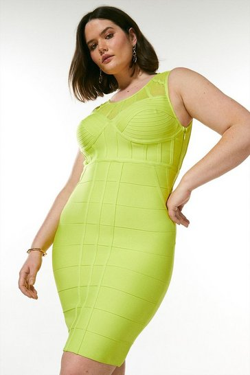 Lime Curve Bandage Bodice Knit Dress