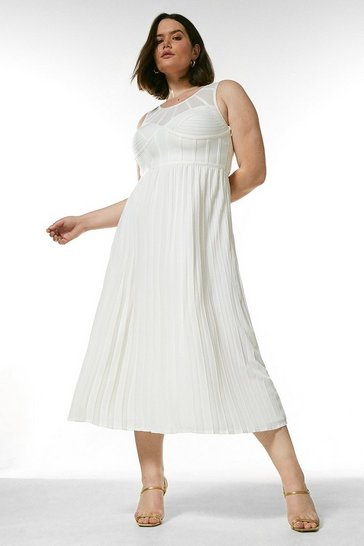 Ivory Curve Bandage Bodice Woven Mix Dress