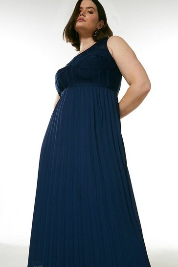 Navy Curve Bandage Bodice Woven Mix Dress