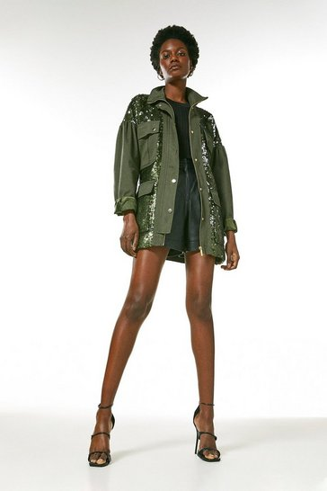 Khaki Sequin Cargo Jacket