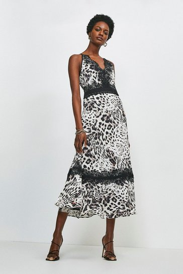 Leopard Lace Trim Cross Back Midi Dress