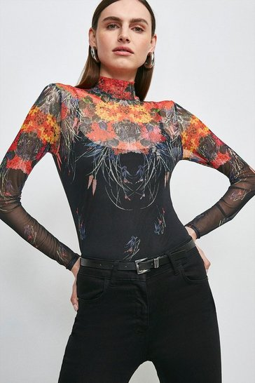 Black Floral Mesh Funnel Long Sleeve Jersey Top