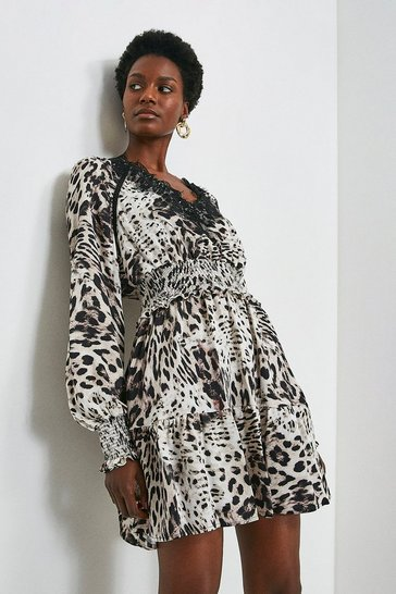 Leopard Lace Trim Dress With Shirred Waist