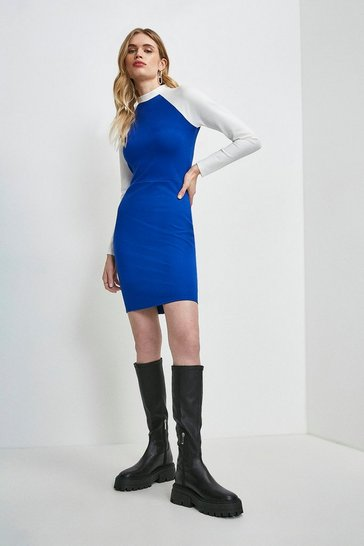 Cobalt Colour Block Zip Back Ponte Dress