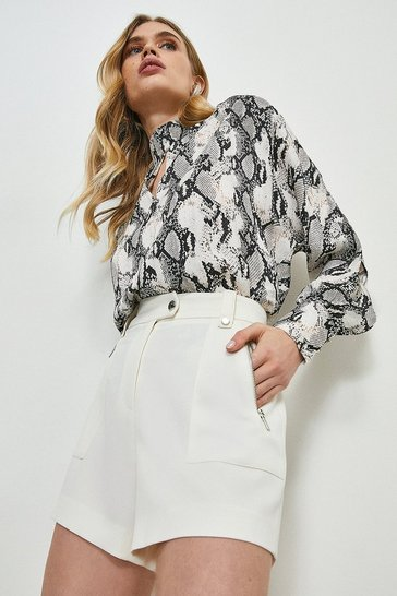 Ivory Relaxed Tailored Zip Pocket Shorts